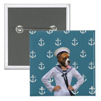 Carácter divertido del perro del marinero pin cuadrado