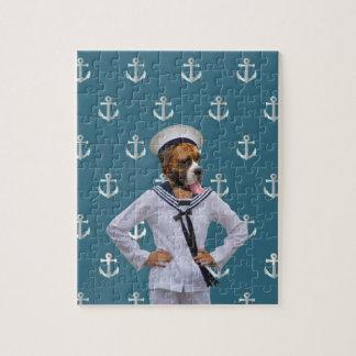 Carácter divertido del perro del marinero rompecabezas