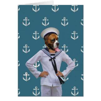 Carácter divertido del perro del marinero tarjeton