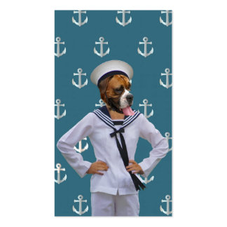 Carácter divertido del perro del marinero plantilla de tarjeta de negocio