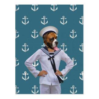 Carácter divertido del perro del marinero tarjeta postal