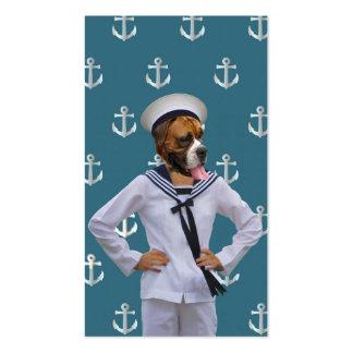 Carácter divertido del perro del marinero tarjetas de visita