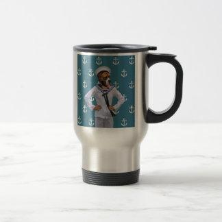 Carácter divertido del perro del marinero tazas de café