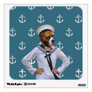 Carácter divertido del perro del marinero vinilo adhesivo