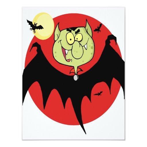 carácter divertido lindo del palo de vampiro del invitaciones personales