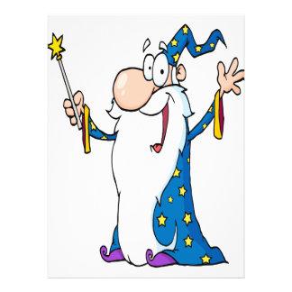 carácter feliz del mago del dibujo animado invitación