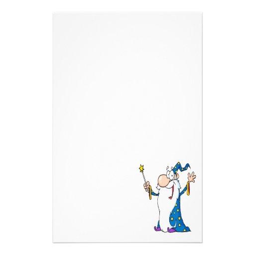 carácter feliz del mago del dibujo animado papeleria