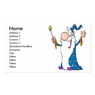 carácter feliz del mago del dibujo animado tarjetas de visita