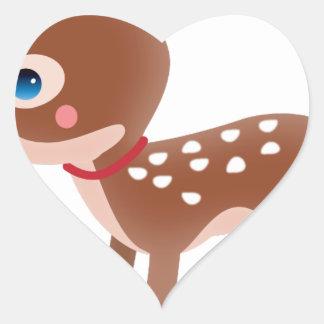 Carácter lindo de los ciervos del reno pegatina en forma de corazón