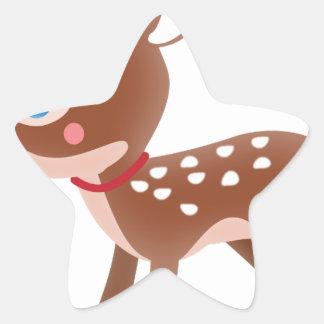 Carácter lindo de los ciervos del reno pegatina en forma de estrella
