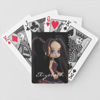 Carácter lindo del chica 3D del dibujo animado de  Baraja