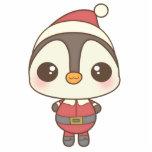 carácter lindo del pingüino de Papá Noel Esculturas Fotograficas