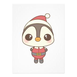 carácter lindo del pingüino de Papá Noel Comunicados Personalizados