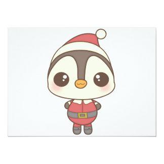 """carácter lindo del pingüino de Papá Noel Invitación 5.5"""" X 7.5"""""""