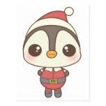carácter lindo del pingüino de Papá Noel Tarjeta Postal