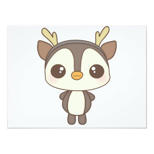 """carácter lindo del reno del pingüino del navidad invitación 5.5"""" x 7.5"""""""