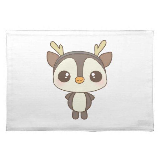 carácter lindo del reno del pingüino del navidad manteles individuales