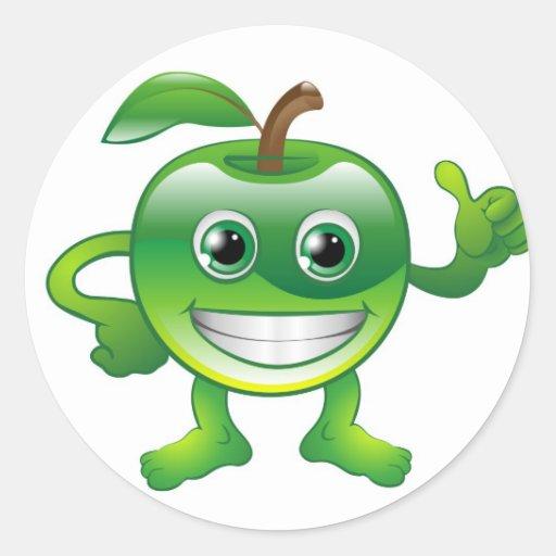 Carácter lindo feliz de la fruta de la manzana pegatina redonda