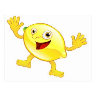 Carácter lindo feliz de la fruta del limón postales