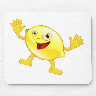 Carácter lindo feliz de la fruta del limón tapetes de raton