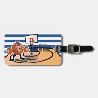 Carácter lindo tonto del deporte del baloncesto etiquetas de equipaje