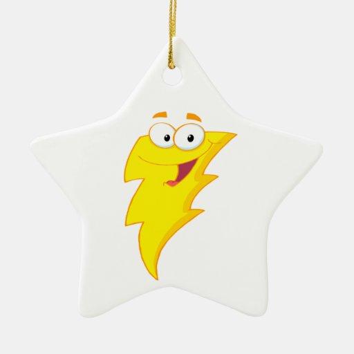 carácter lindo tonto del rayo del dibujo animado adorno navideño de cerámica en forma de estrella