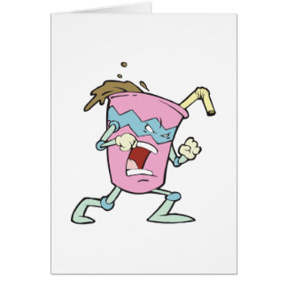 carácter malvado del milkshake del malvado tonto tarjeta de felicitación