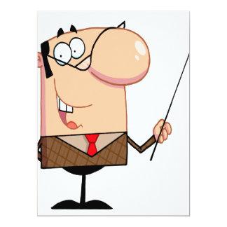 """carácter masculino del profesor del dibujo animado invitación 6.5"""" x 8.75"""""""