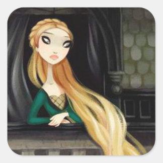 Carácter oscuro 2 del cuento de hadas - Rapunzel Calcomania Cuadrada Personalizada