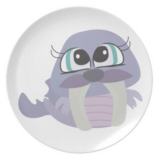 carácter púrpura tonto lindo del vector de la mors plato de comida