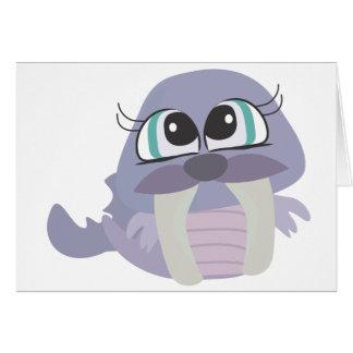 carácter púrpura tonto lindo del vector de la mors felicitacion
