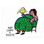 Carácter retro 'Lady gordo del acto secundario del Postal