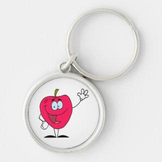 carácter rojo de la manzana del dibujo animado fel llaveros