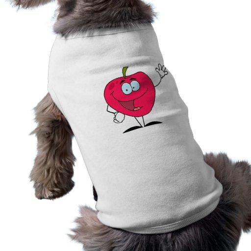 carácter rojo de la manzana del dibujo animado fel camisetas de mascota