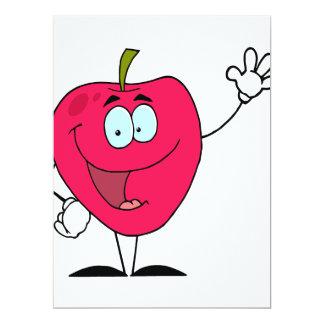 """carácter rojo de la manzana del dibujo animado invitación 6.5"""" x 8.75"""""""