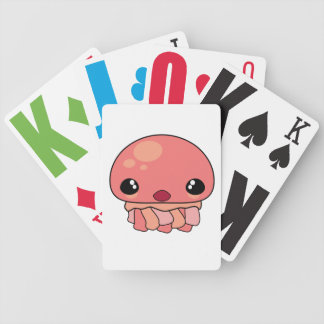 Carácter rosado lindo de las medusas de Kawaii Baraja Cartas De Poker