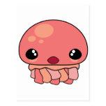 Carácter rosado lindo de las medusas de Kawaii Postal
