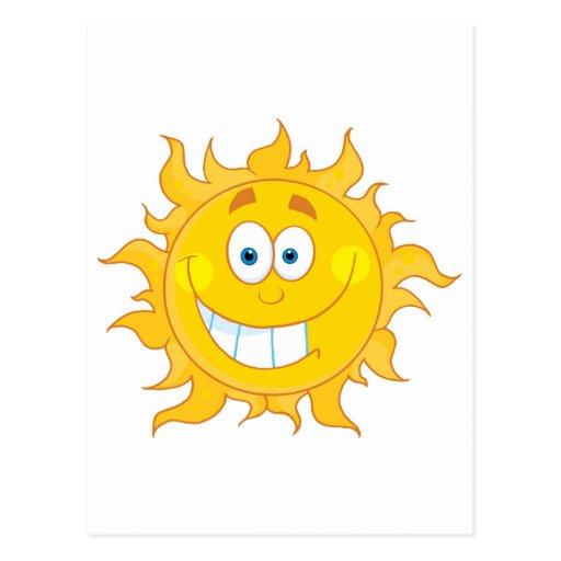 Carácter sonriente feliz de la mascota de Sun Tarjetas Postales