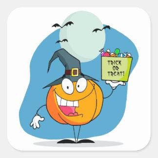 carácter tonto de la calabaza de Halloween del Pegatinas Cuadradas Personalizadas