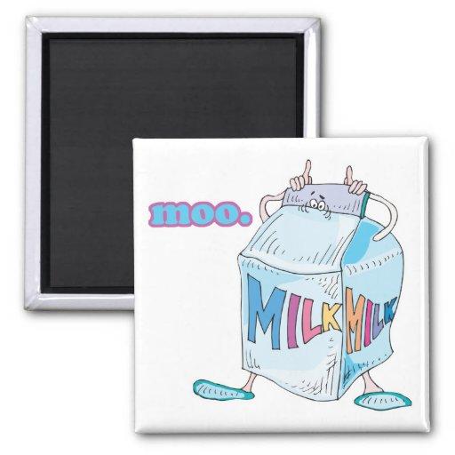 carácter tonto de la leche del dibujo animado del  imán de frigorífico