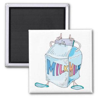 carácter tonto de la leche del dibujo animado imán cuadrado