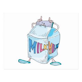 carácter tonto de la leche del dibujo animado tarjetas postales