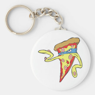 carácter tonto de la pizza de salchichones del mal llavero redondo tipo pin