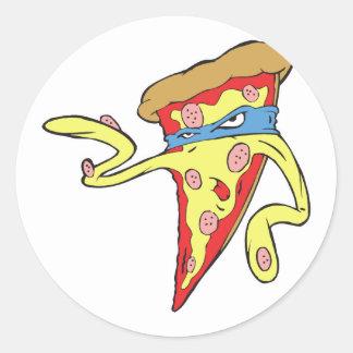 carácter tonto de la pizza de salchichones del pegatina redonda