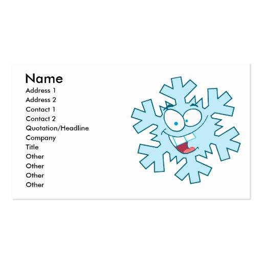 carácter tonto feliz lindo del copo de nieve del tarjetas de visita