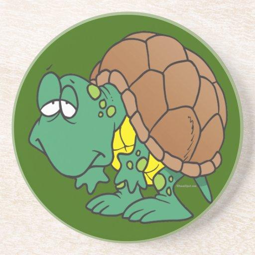 carácter torpe lindo de la tortuga del dibujo anim posavasos para bebidas