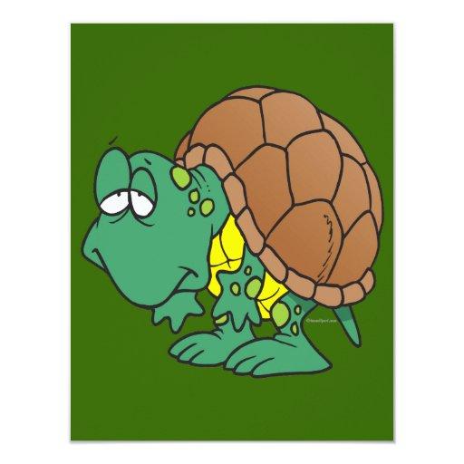 carácter torpe lindo de la tortuga del dibujo invitaciones personales