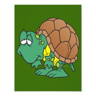 carácter torpe lindo de la tortuga del dibujo invitación 10,8 x 13,9 cm