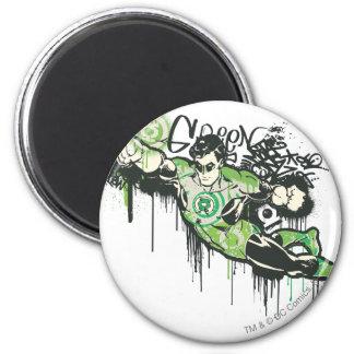 Carácter verde de la pintada de la linterna imán de frigorífico