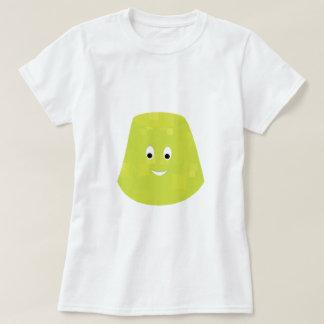 Carácter verde sonriente de la pastilla de goma playera
